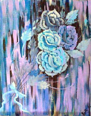 Roses Under Blue Light-Acrylic Painting